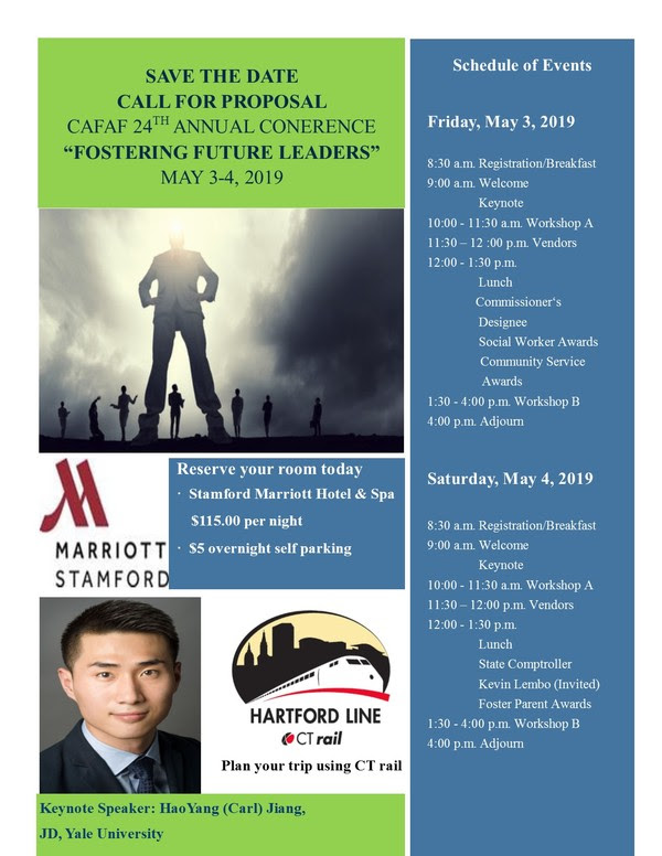 "May 3rd and 4th - Save the Date - Call For Proposal - CAFAF 24th Annual Conference ""Fostering Future Leaders"" @ Stamford Marriott Hotel & Spa 
